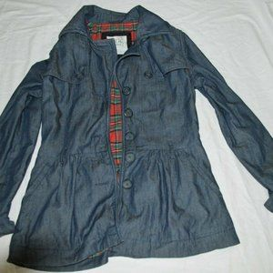 Levis Gathered Trench in Deep Blue Denim Size M